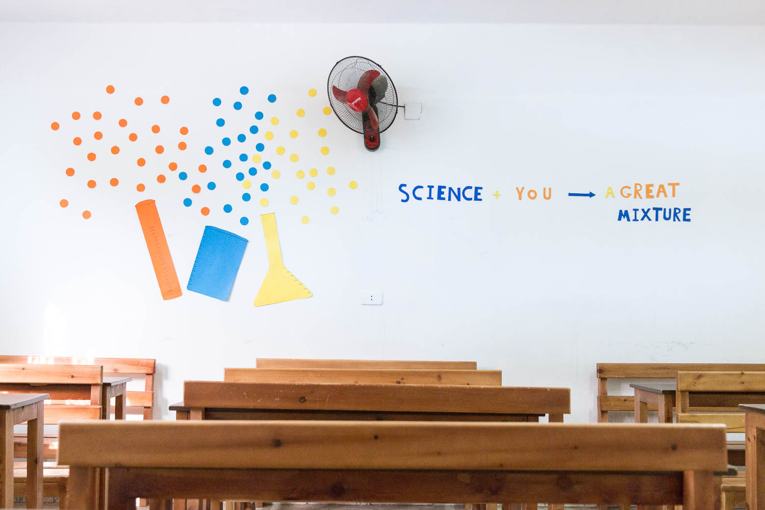 All classrooms in the community centre are decorated with colorful motivational messages.