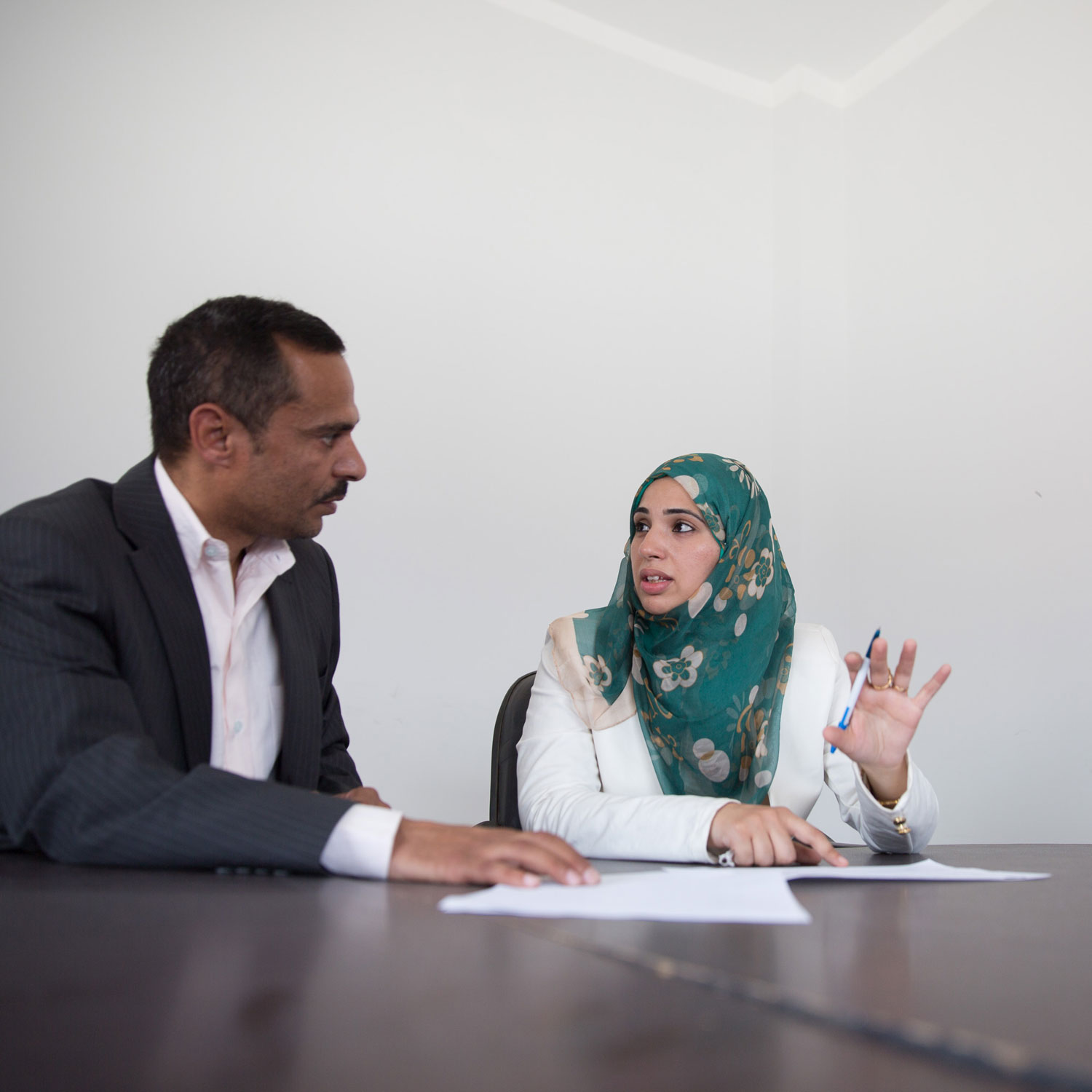 Heba's manager Essam Ahmed has believed in her since she started working with the company 5 years ago. He trained her and supported her along the way.   Photo for USAID/Egypt.